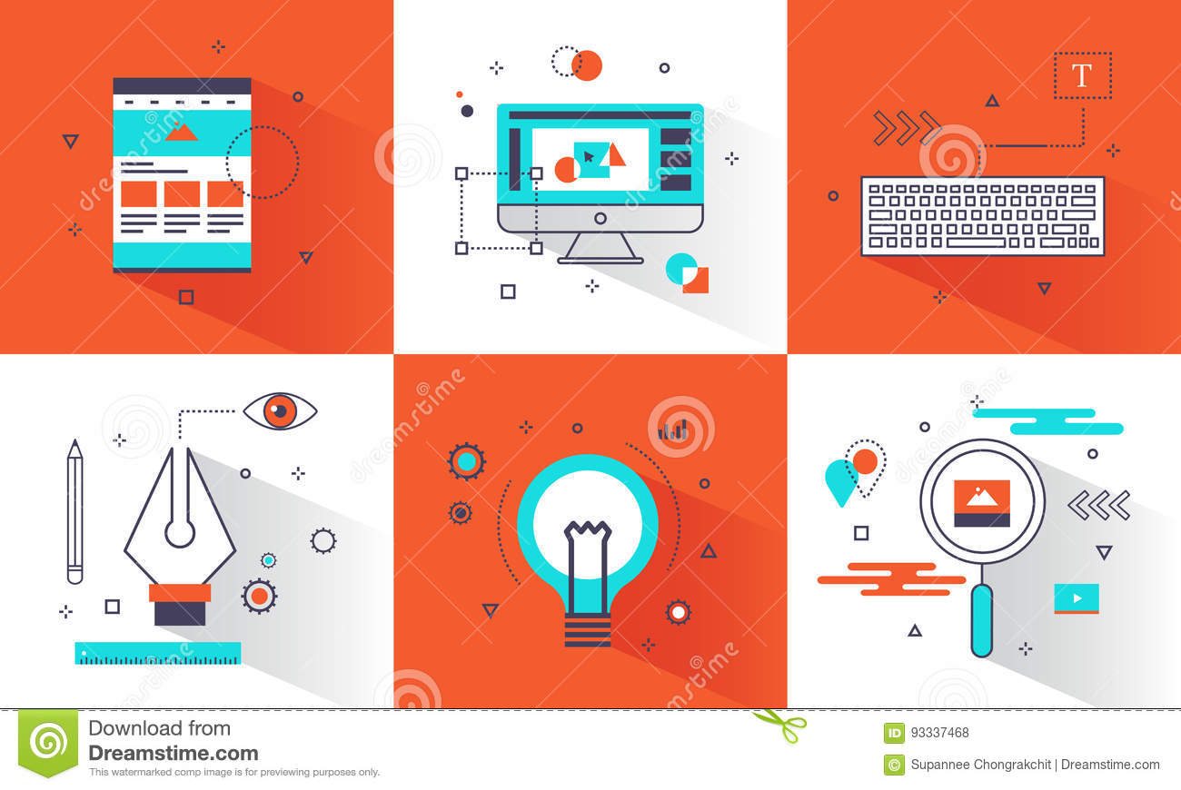 banner creative graphic design concept abstract element and flat line icons style for website business creative education poster diagram