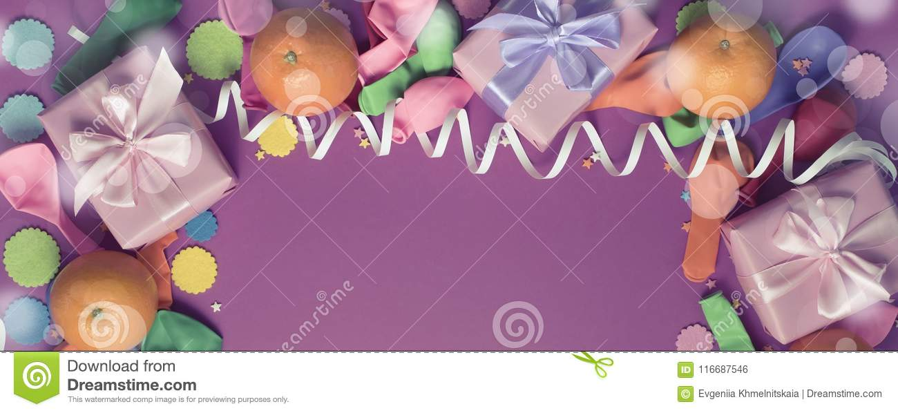 Banner Decorative composition Three boxes with gifts Satin ribbon Bow Oranges Confetti Serpentine birthday party.