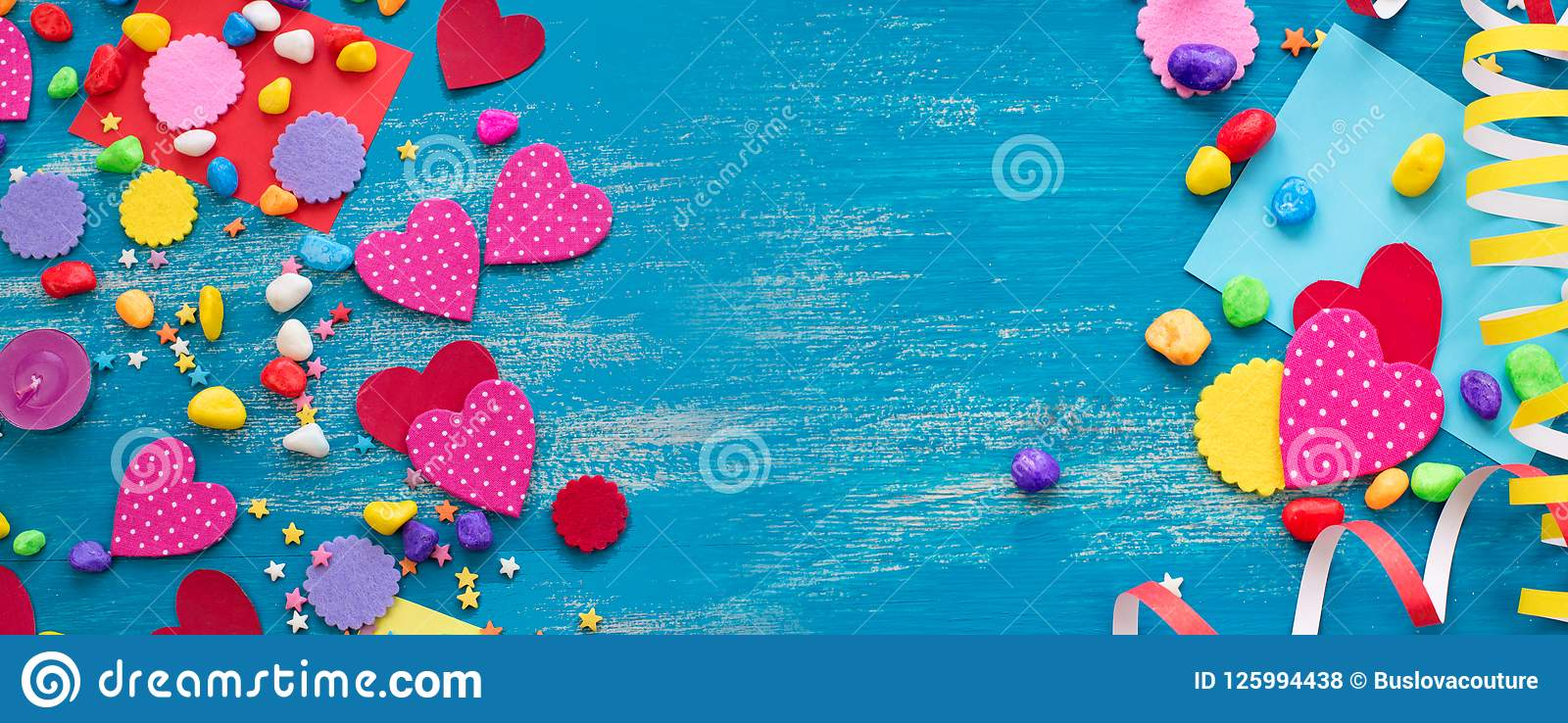 Banner Decorative holiday background with streamers confetti candy hearts decor.