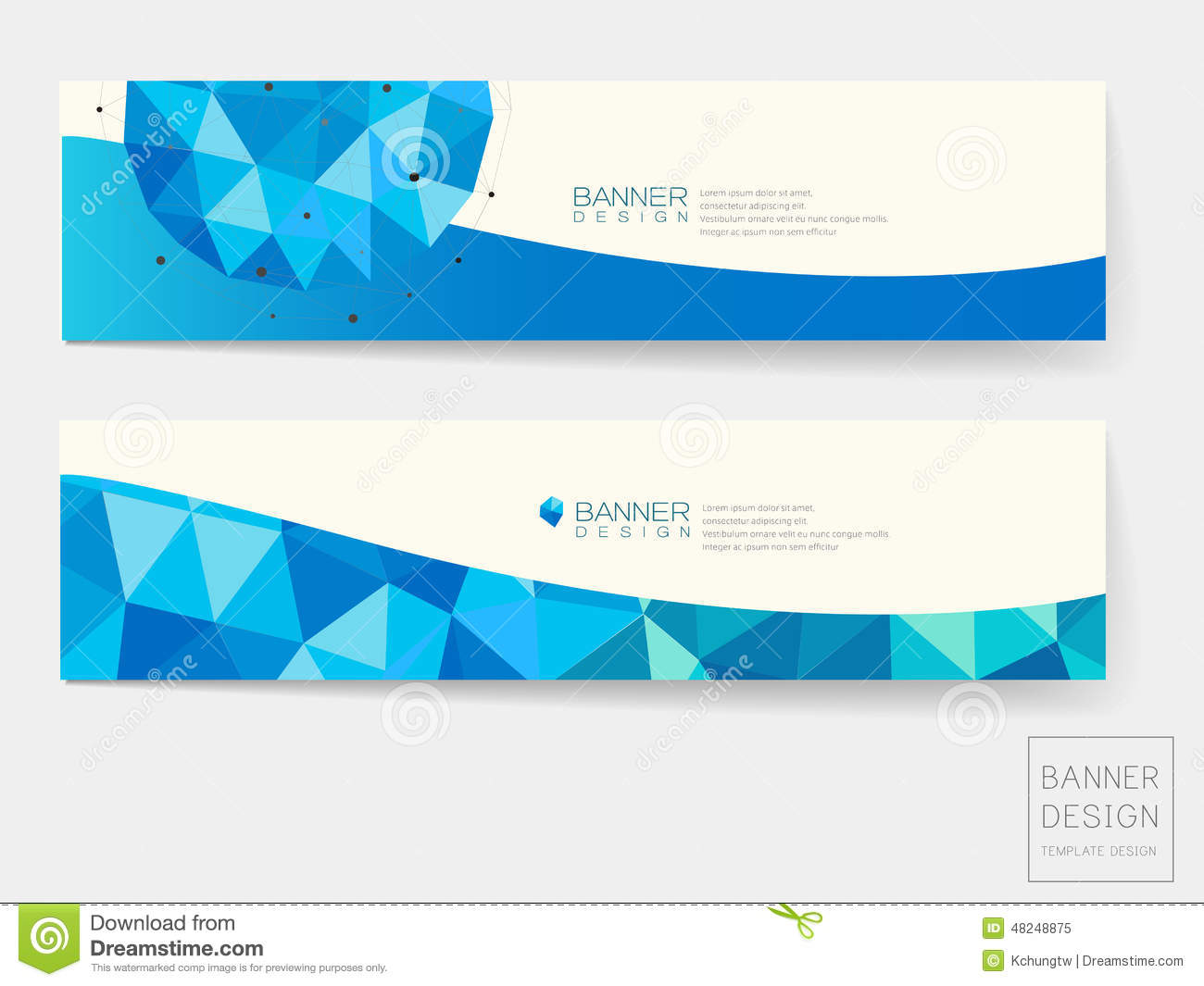 Design elements banner - Royalty Free Vector Download Banner Design With Geometric Blue Crystal Elements