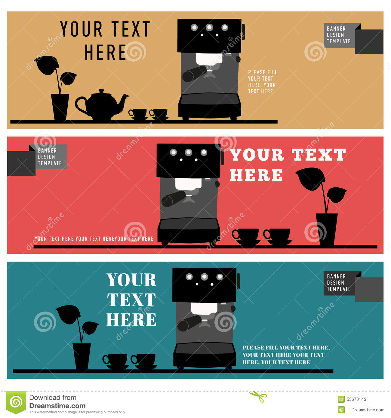 Banner design template coffee shop cafe icon element stock - Text banner design ...