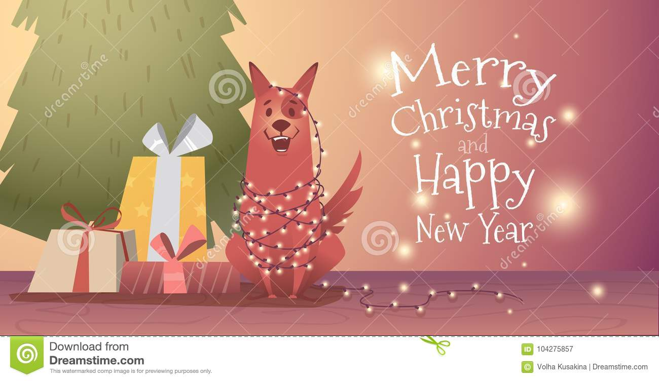 download banner design template with congratulations happy christmas and new year stock vector illustration