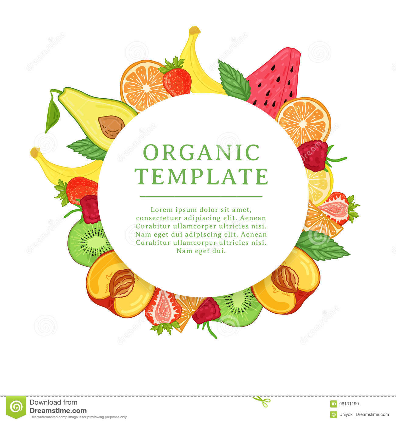 banner design template with tropical fruit decoration round frame