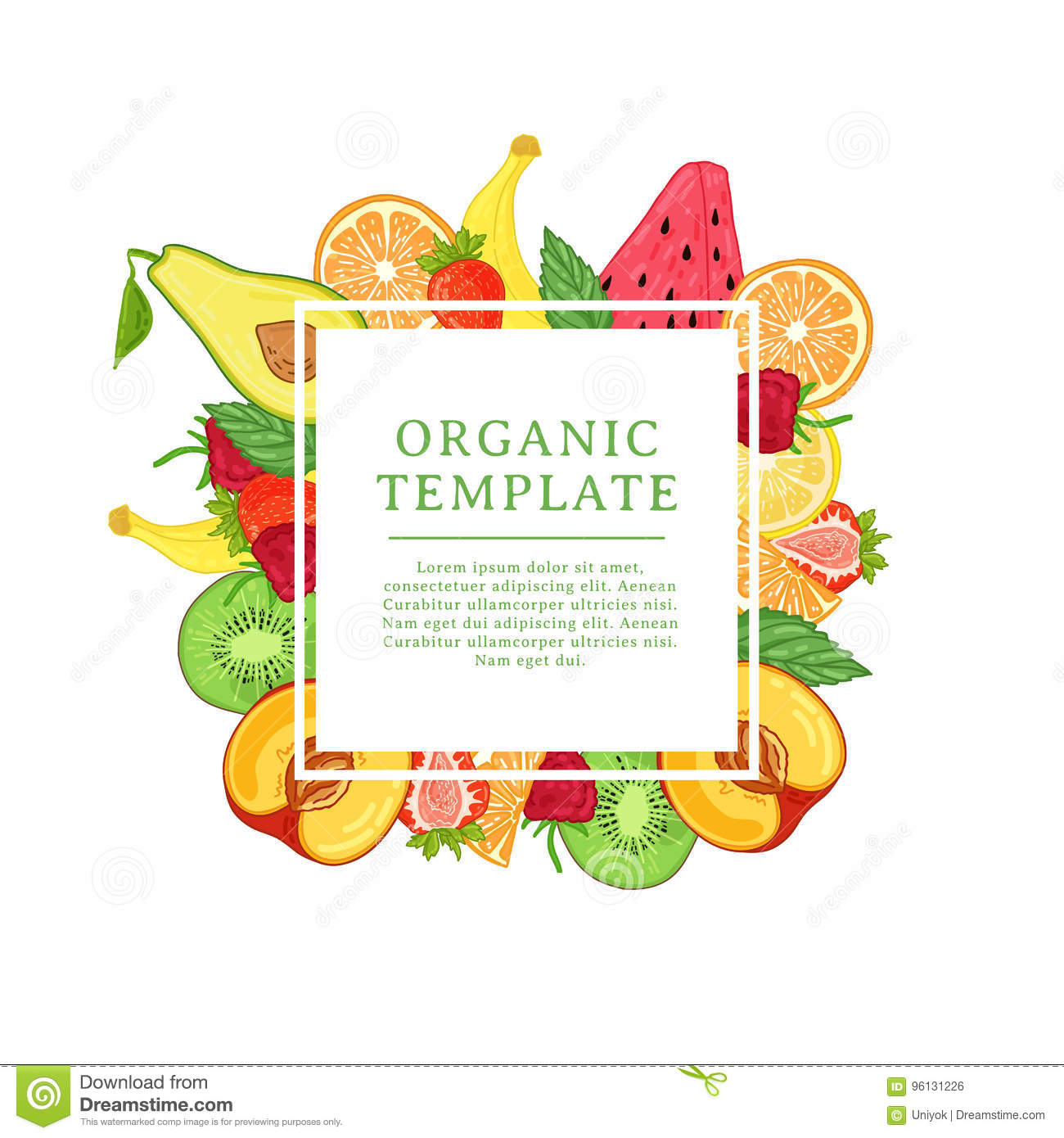 Banner design template with tropical fruit decoration. Square frame with the decor of healthy, juicy fruit. Card with