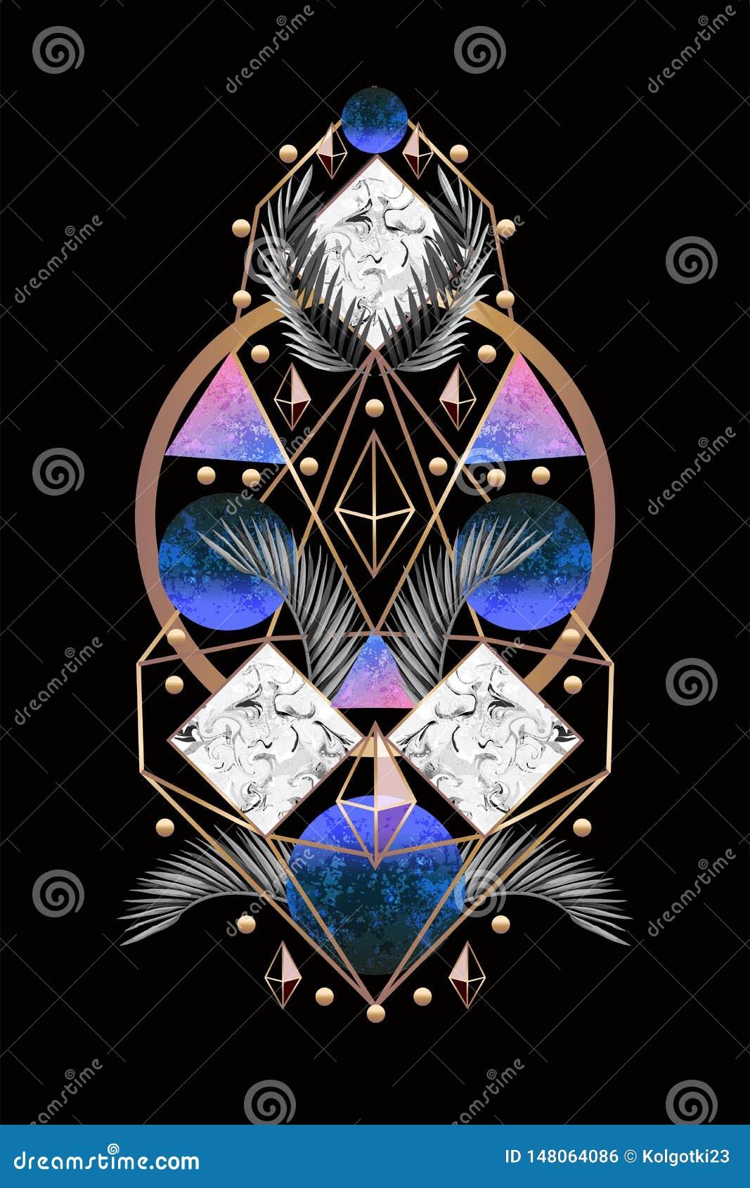 Banner of druk van het symmetrie de de abstracte ontwerp met palmbladen en driehoeken Vector