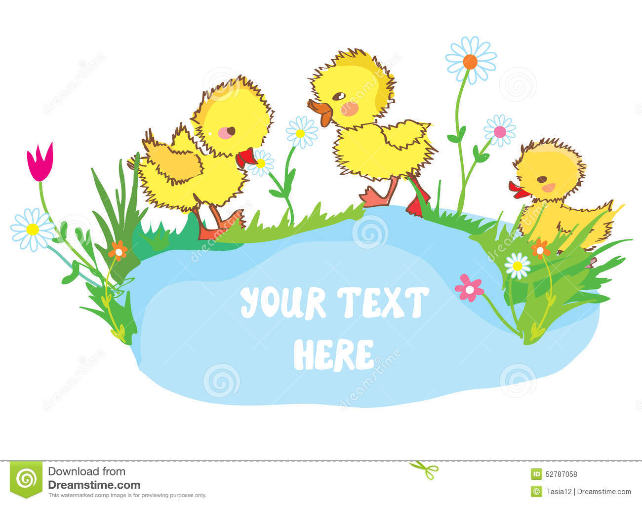 funny ducks in the pond and flowers stock illustration image