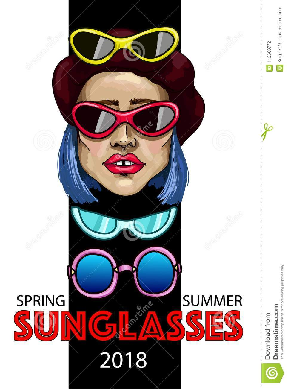 cd1a272f5a44 Banner with fashion girl and sunglasses.Advertising a new collection of  glasses for an online store