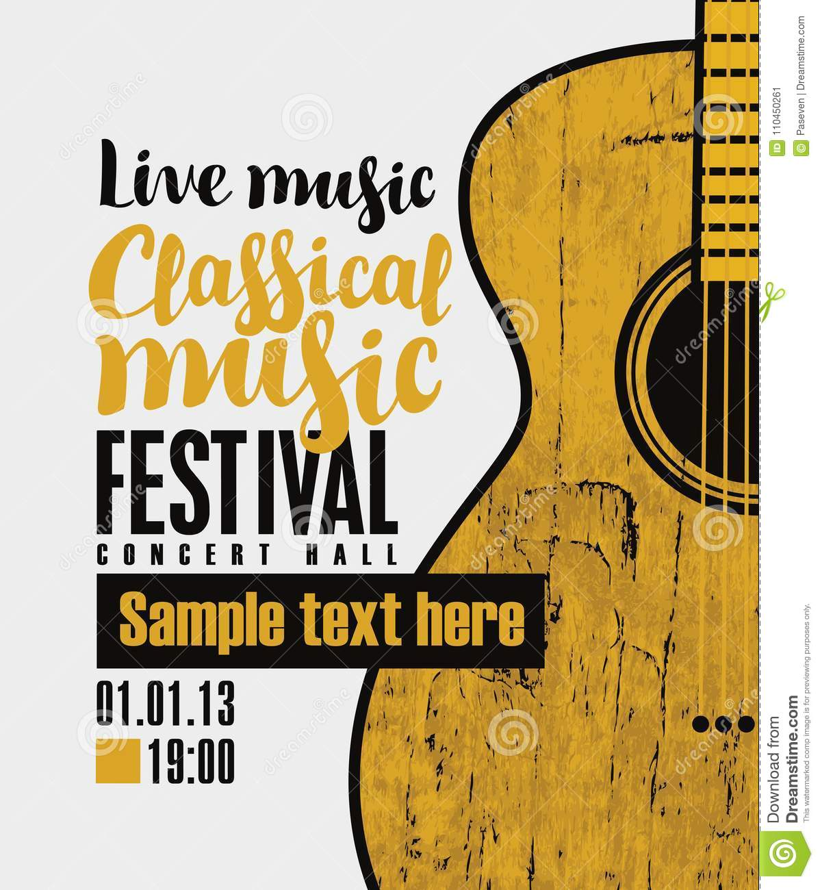 Banner for festival classical music with a guitar