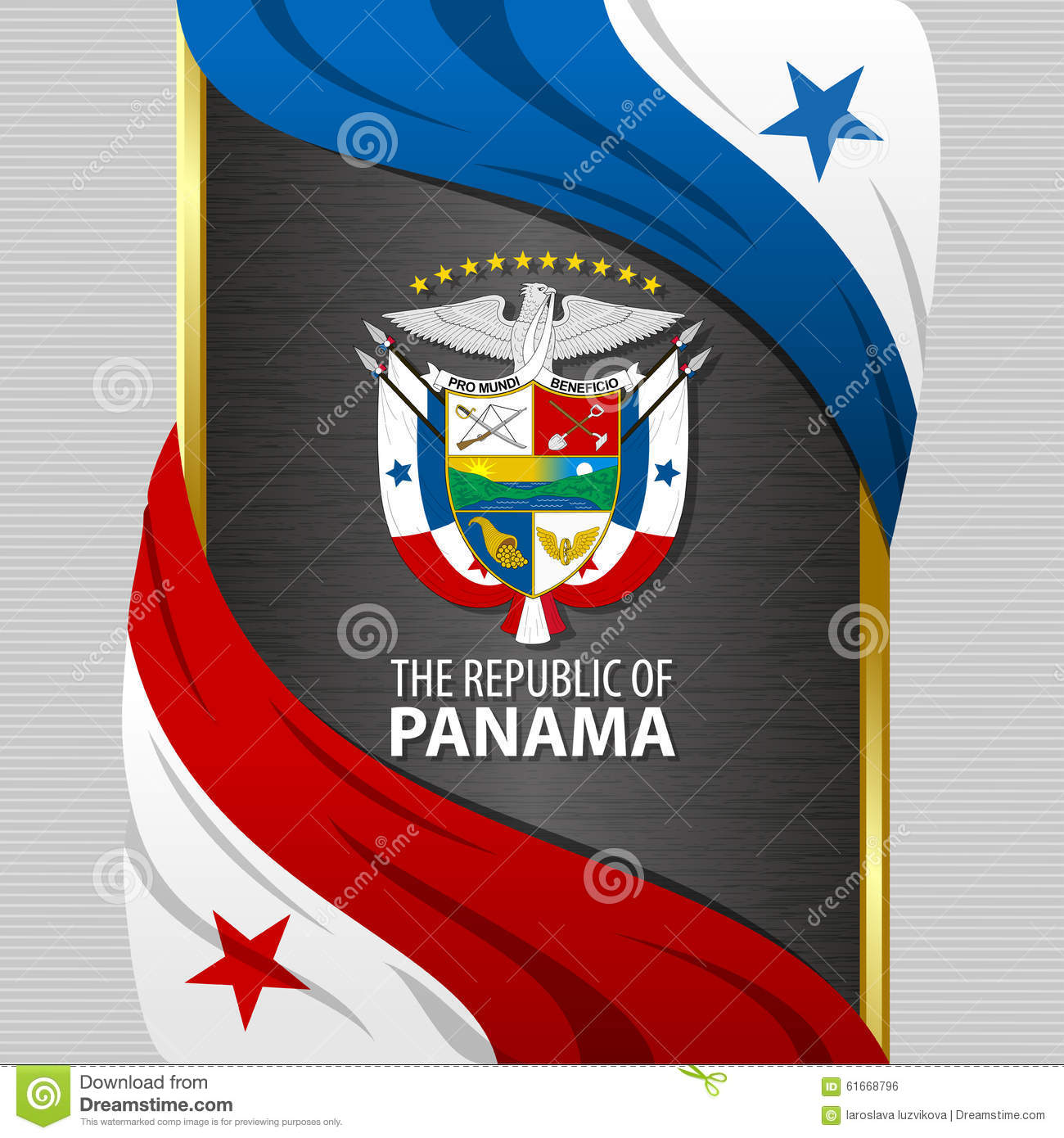 Banner With Flags And Coat Of Arms Of The Panama Stock Vector - Panama flags