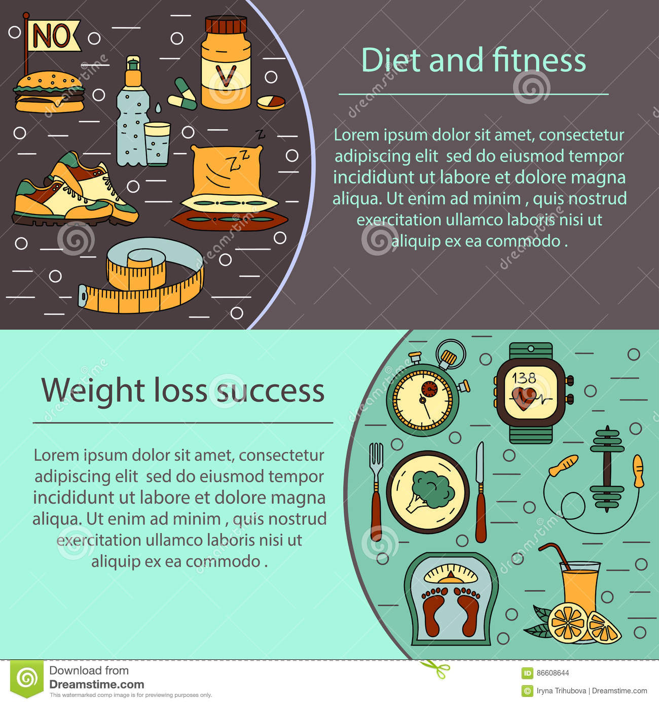 Banner Or Flyer Template Weight Loss Diet Card Stock Vector