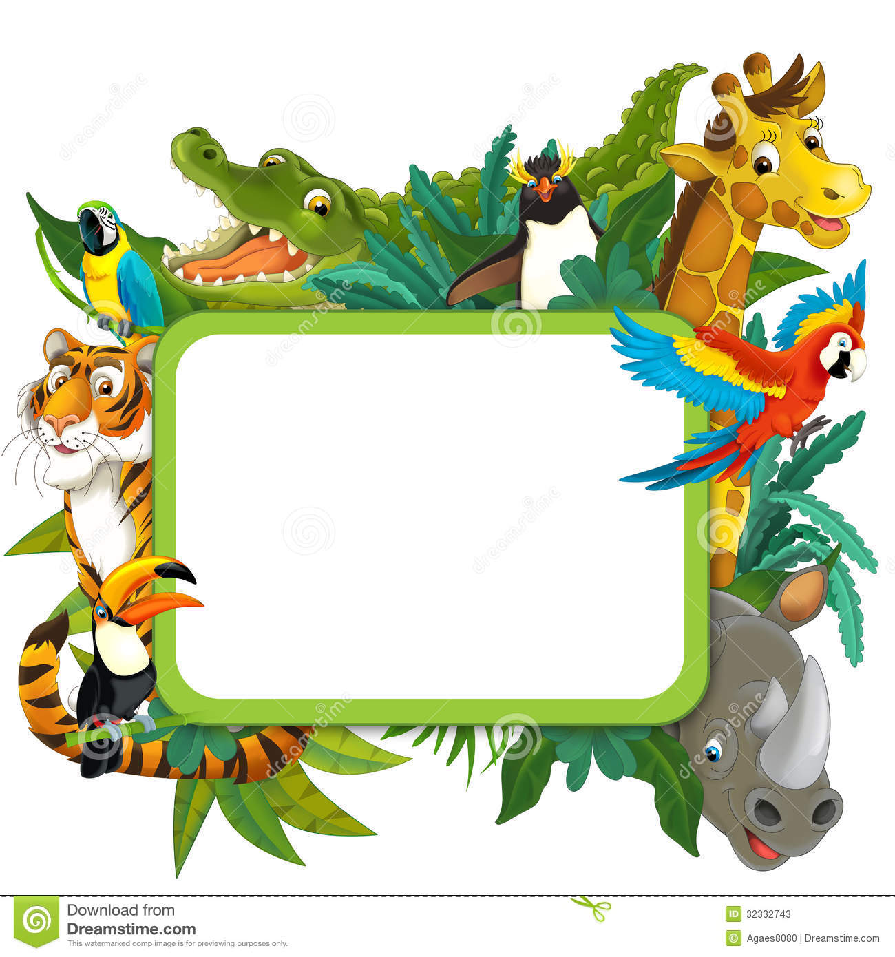 Theme Jungle banner - frame - border - jungle safari theme - illustration for the