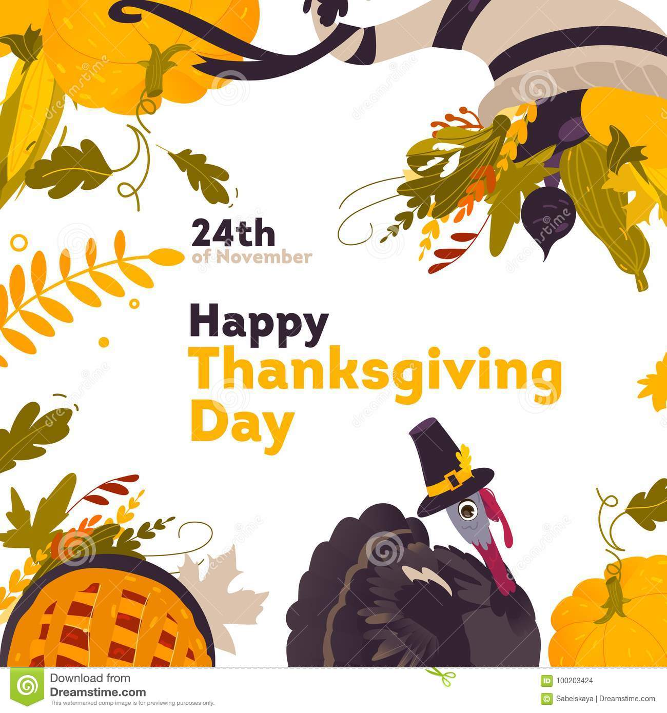 Banner Frame With Cartoon Thanksgiving Symbols Stock Vector