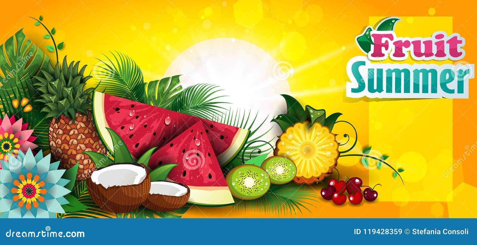 tropical summer fruit banner stock illustration illustration of