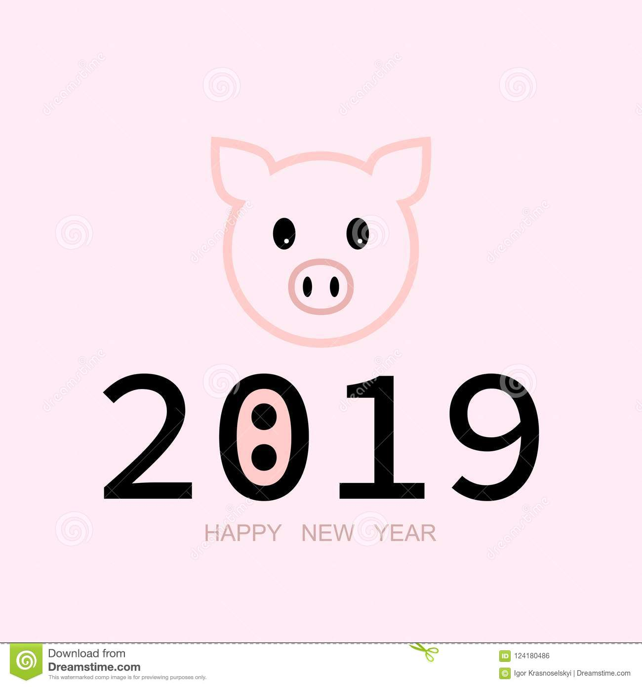 Banner 2019 Happy New Year  Year Pig Stock Vector - Illustration of