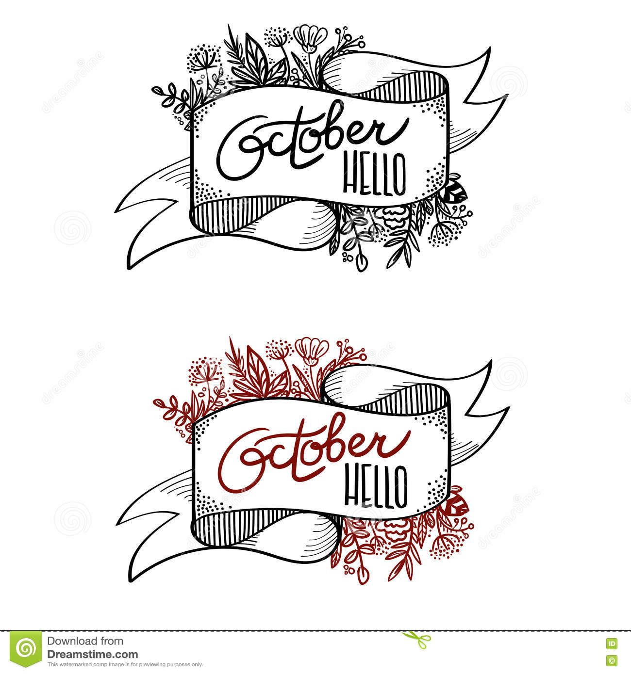 Banner hello october calligraphy stock vector image