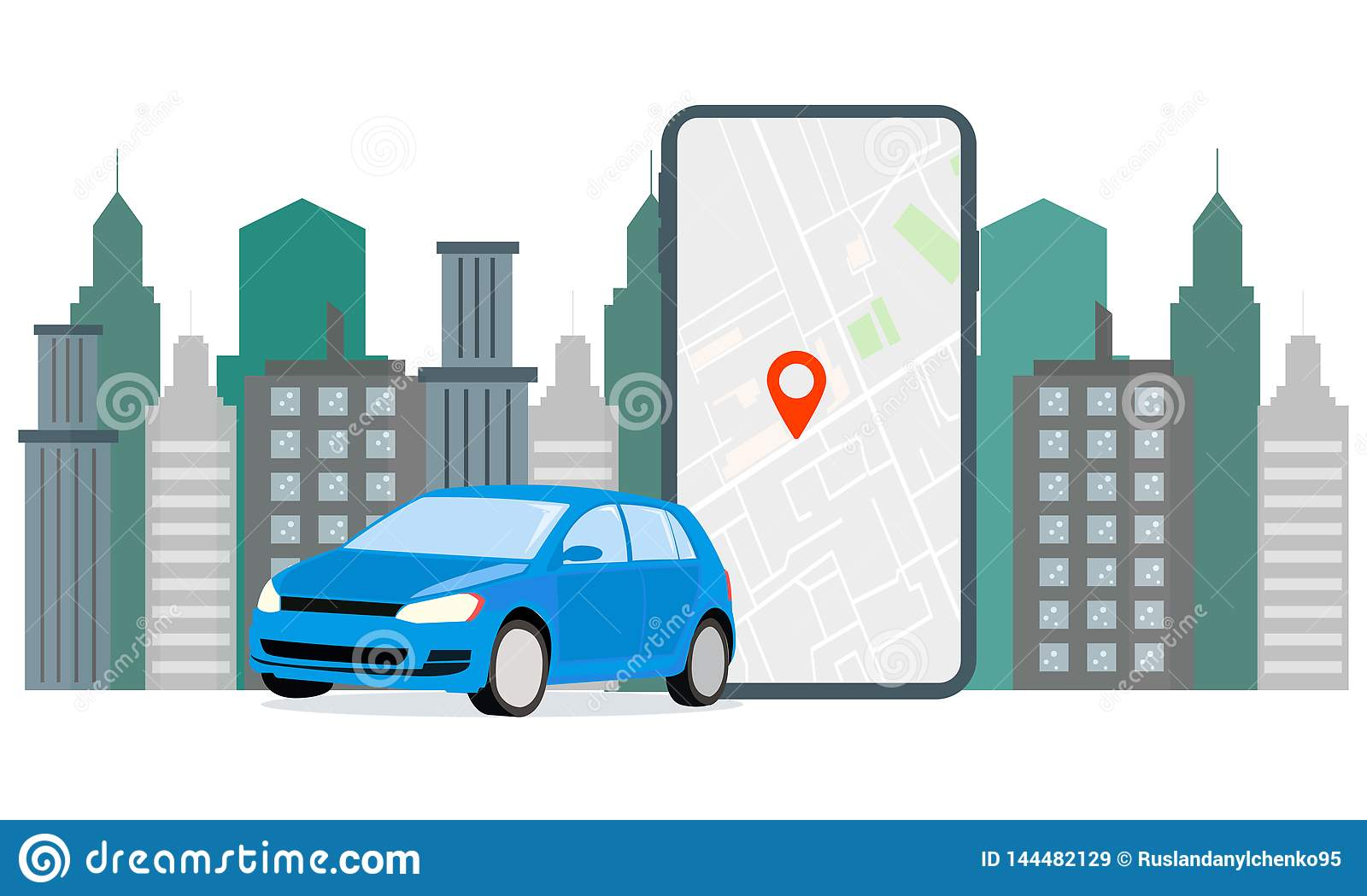 Banner Illustration Navigation Car Rental The Screen Displays Gps Data Car Parking Use Car Hire For Mobile Services Stock Vector Illustration Of Holding Data 144482129