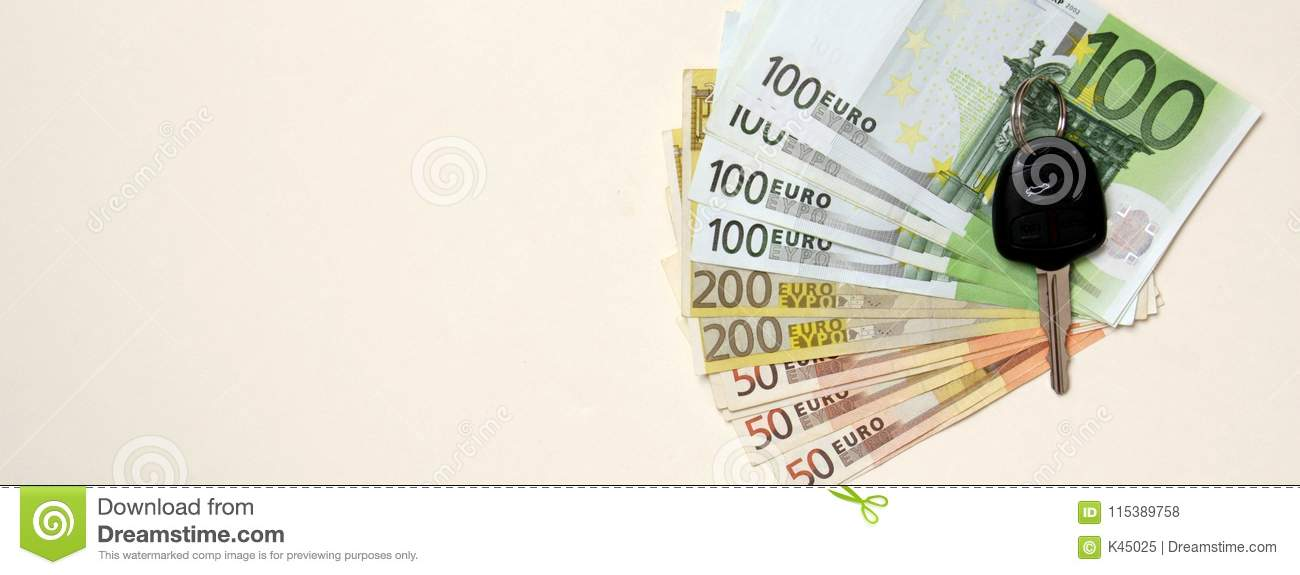 Banner Image New Car Key On Euro Money Background Stock Photo