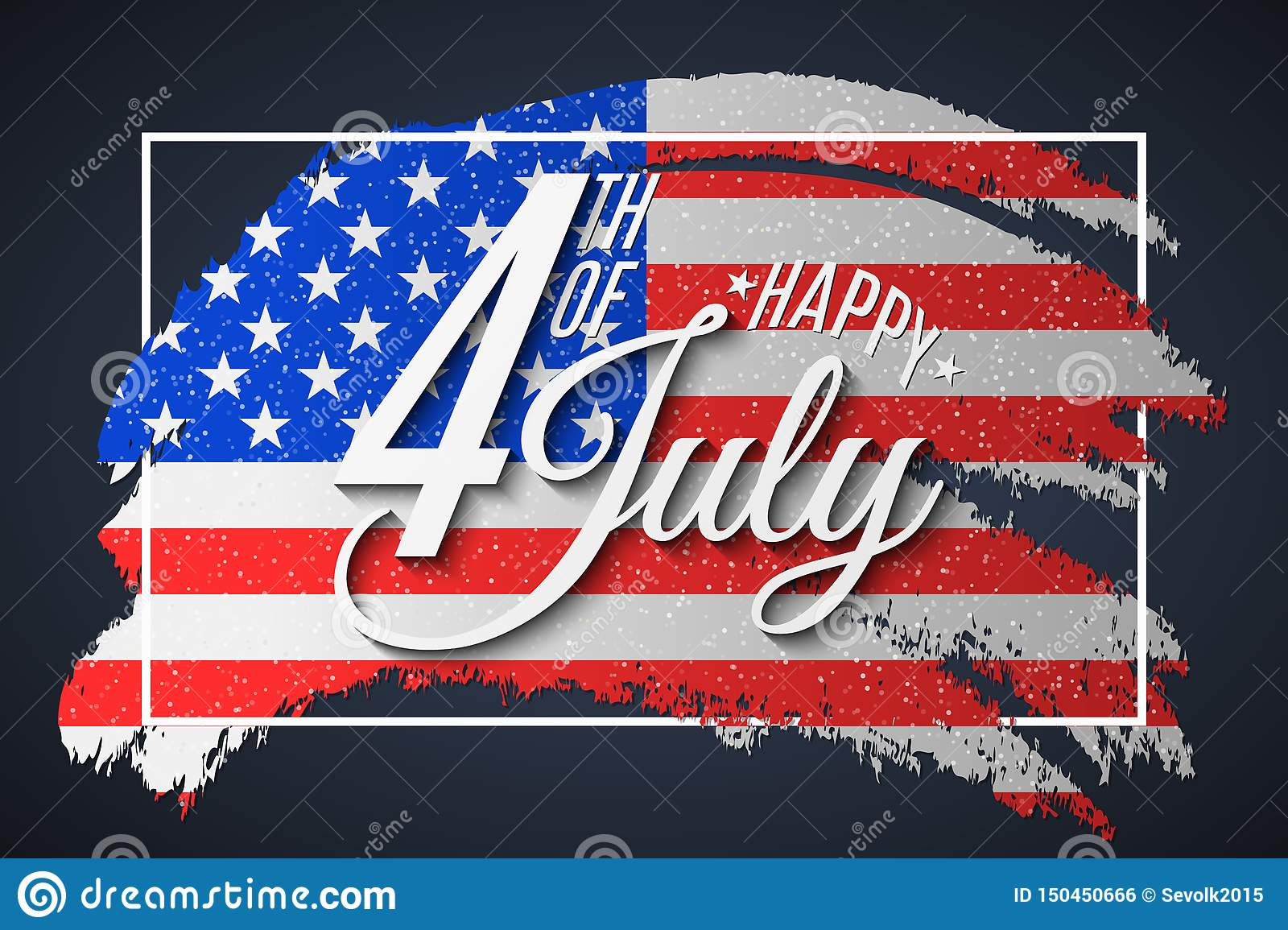 Banner for Independence Day. Greeting card for 4th of July. Grunge brush in frame. Text banner on USA flag background. United