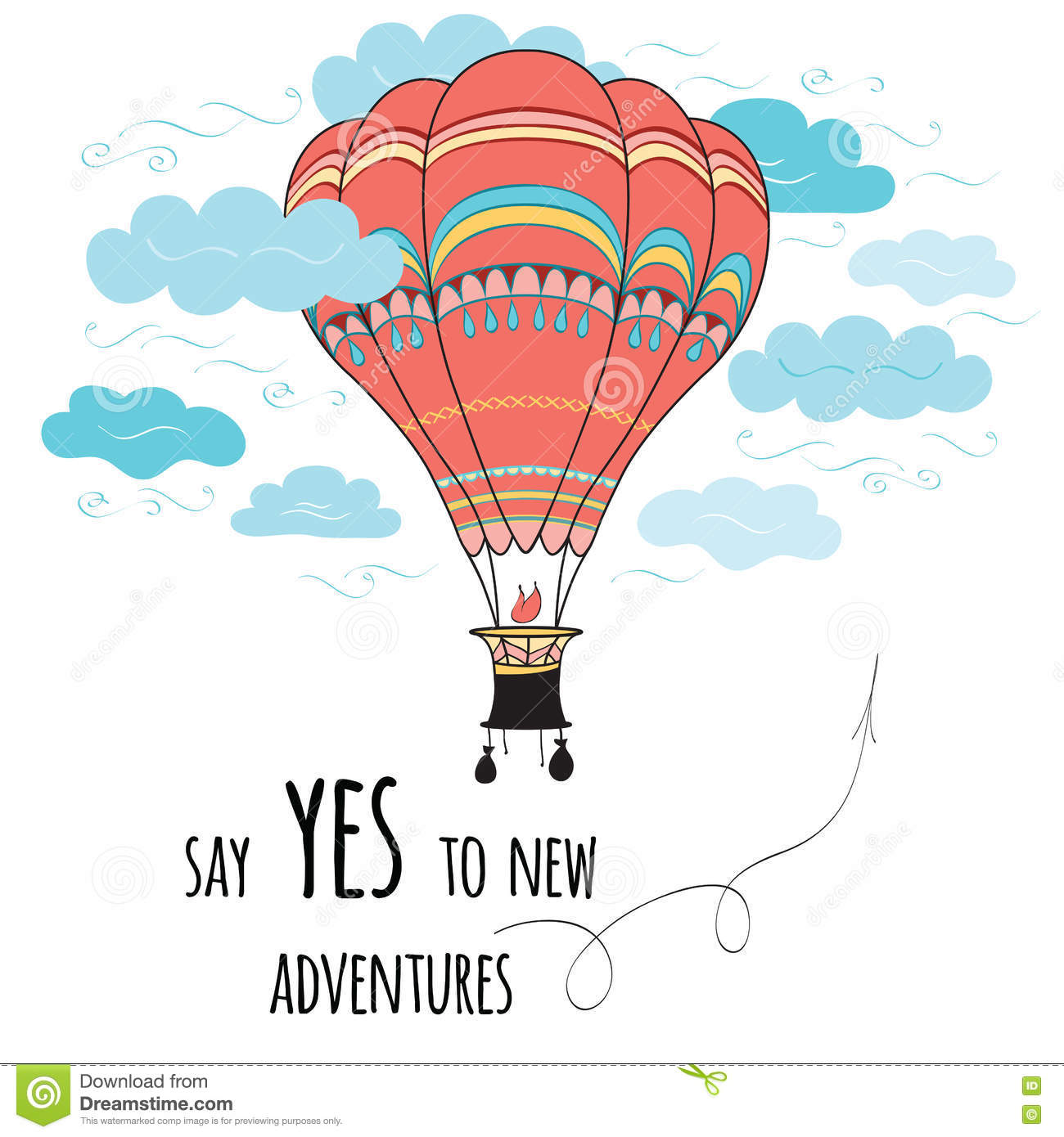 banner with inspirational quote say yes to new adventures decorated