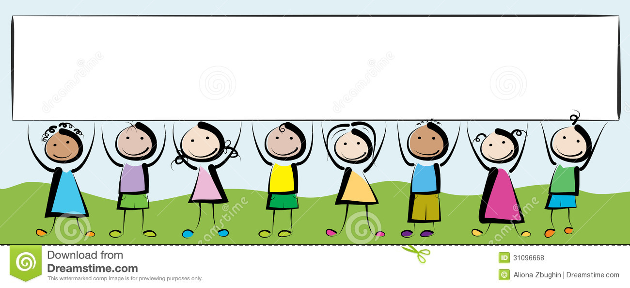 Banner kids stock vector. Illustration of smiling, group ...