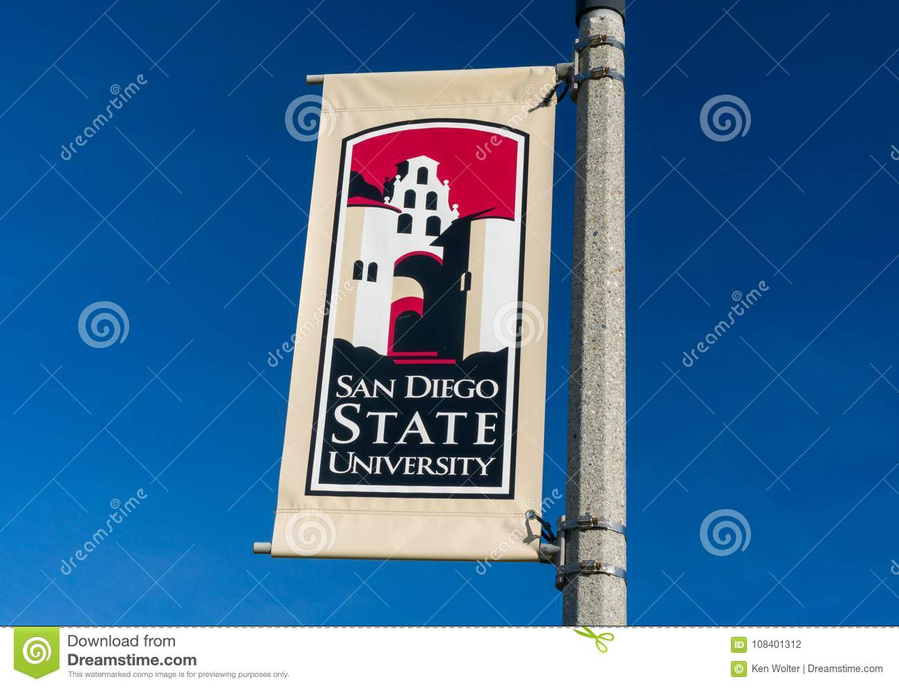 Banner And Logo On The Campus Of San Diego State University Editorial Photography Image Of Historic Education 108401312
