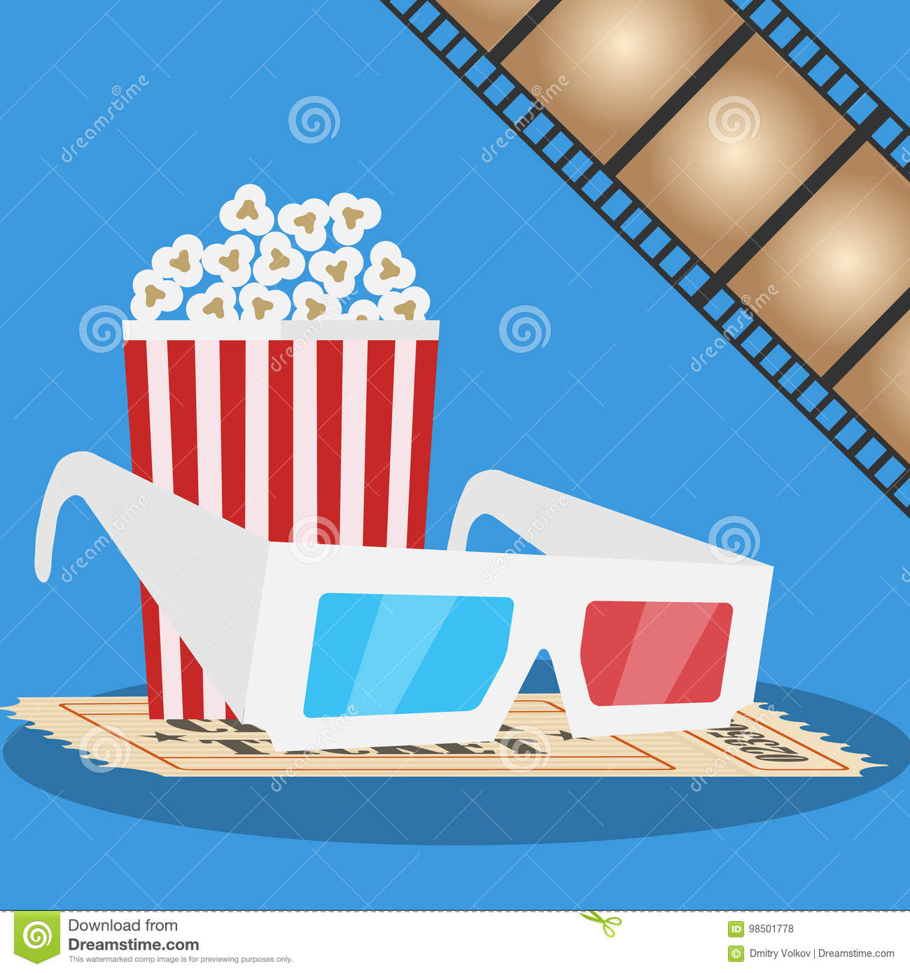 Banner movie. 3D glasses, popcorn, film. Production of the film