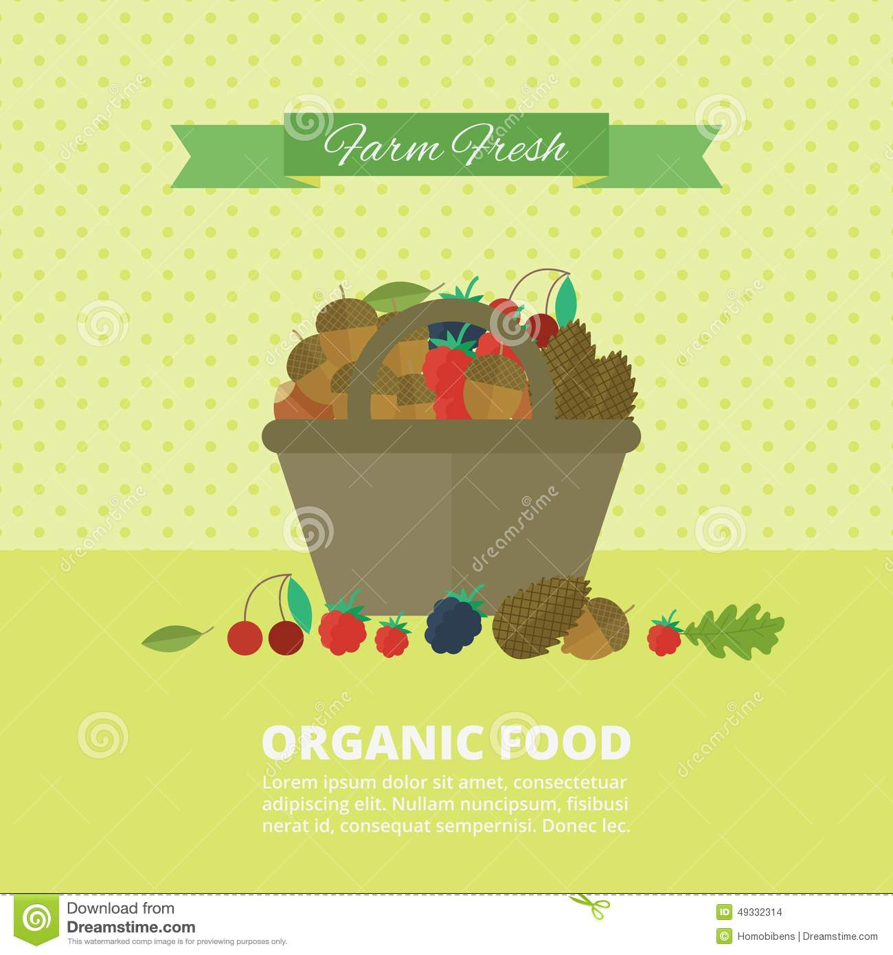 Banner with nuts and berries. Vector illustration