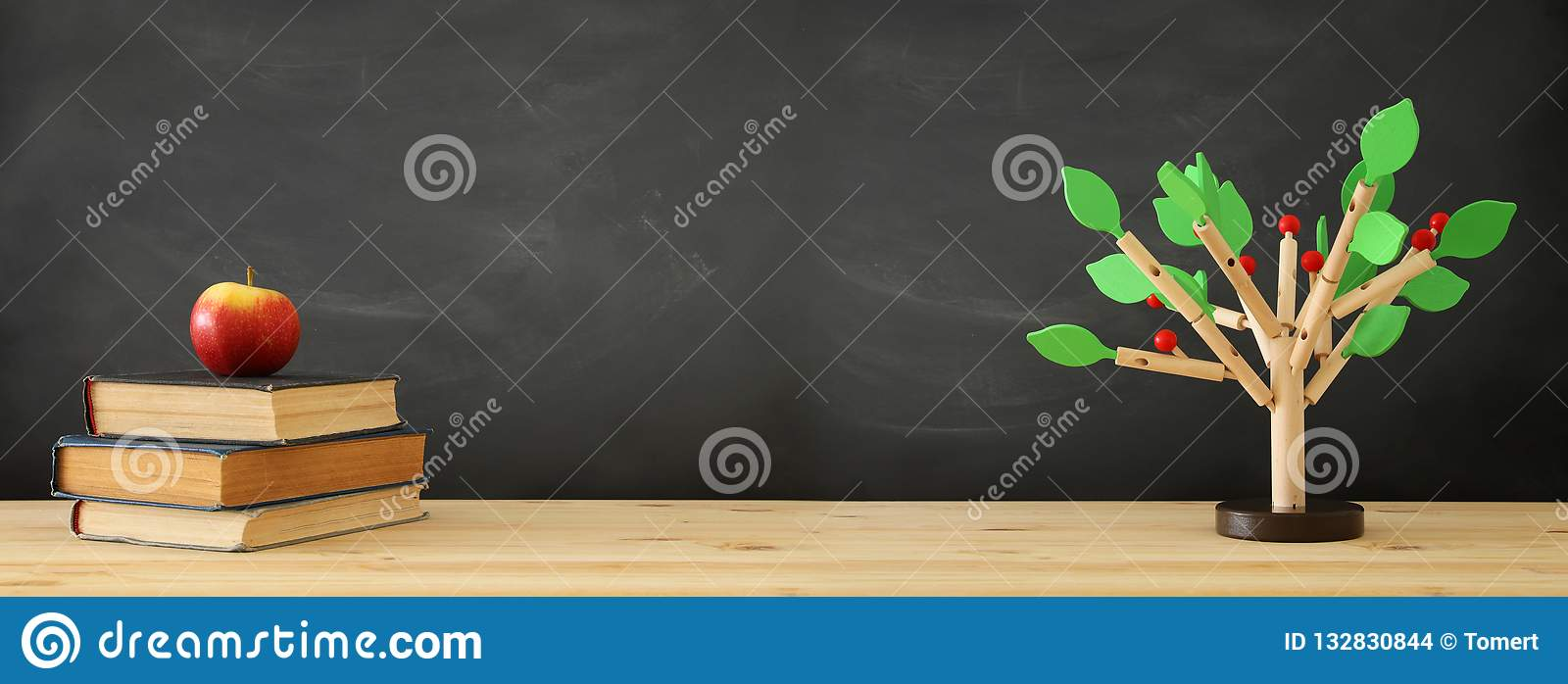 banner of open book and wooden tree puzzle over blackboard background. education and knowledge concept.