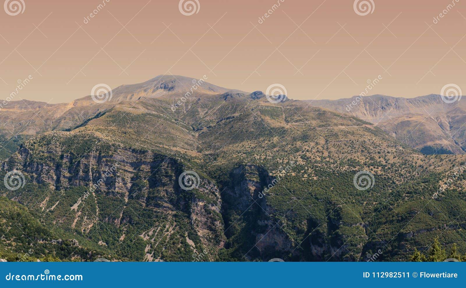 Banner of Panoramic view of mountain in National Park of Tzoumerka, Greece Epirus region. Mountain
