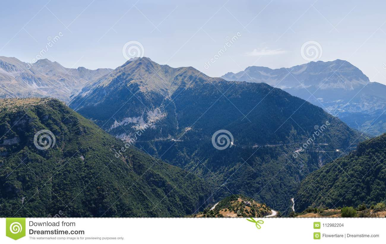 Banner of Panoramic view of mountain in National Park of Tzoumerka, Greece Epirus region. Mountain