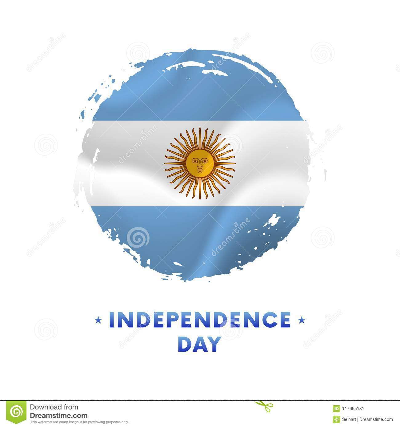 Banner or poster of Argentina Independence Day celebration. Waving flag of Argentina, brush stroke background. Vector illustration