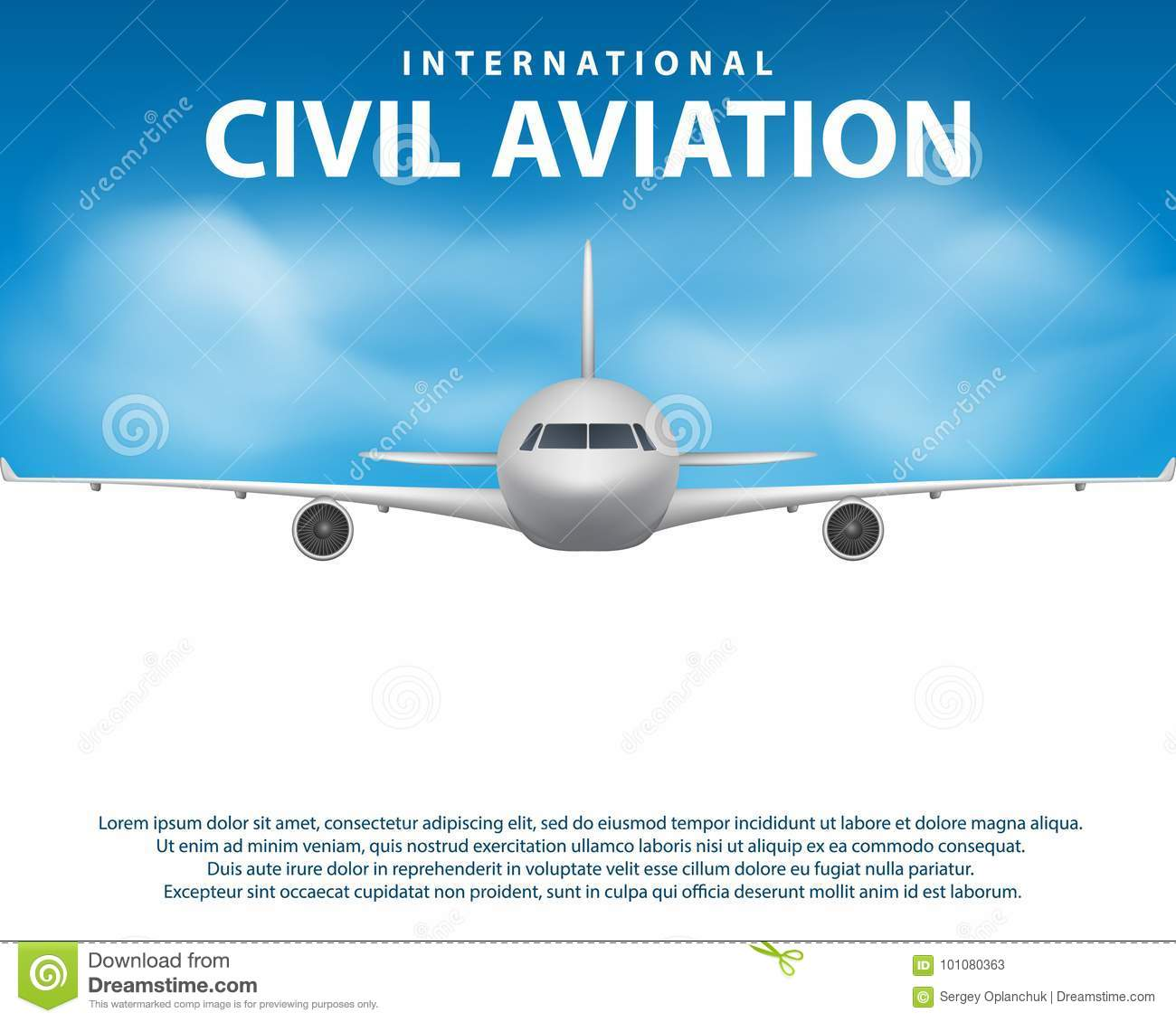 Banner Poster Flyer With Airplane Background Plane In Blue Sky Civil Aviation