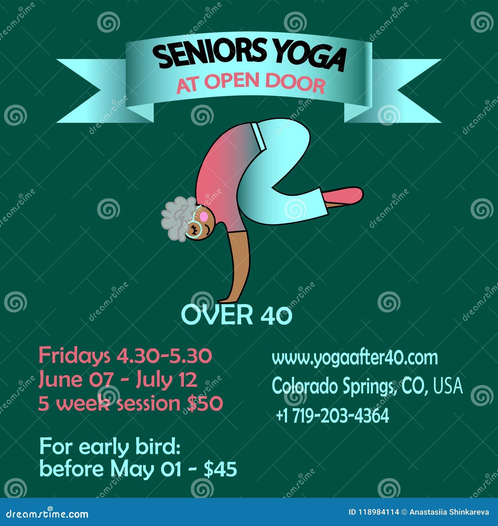 Banner Poster For Training Of Seniors Yoga Stock Vector Illustration Of Sport Active 118984114