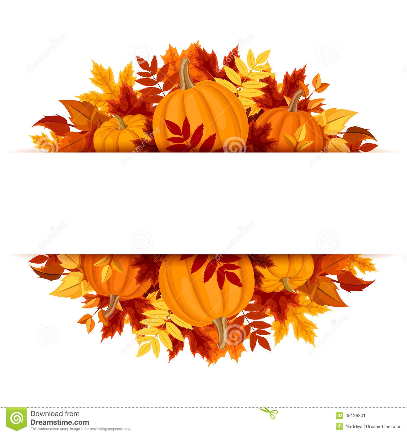 Banner With Pumpkins And Colorful Autumn Leaves. Vector Eps-10. Stock ...