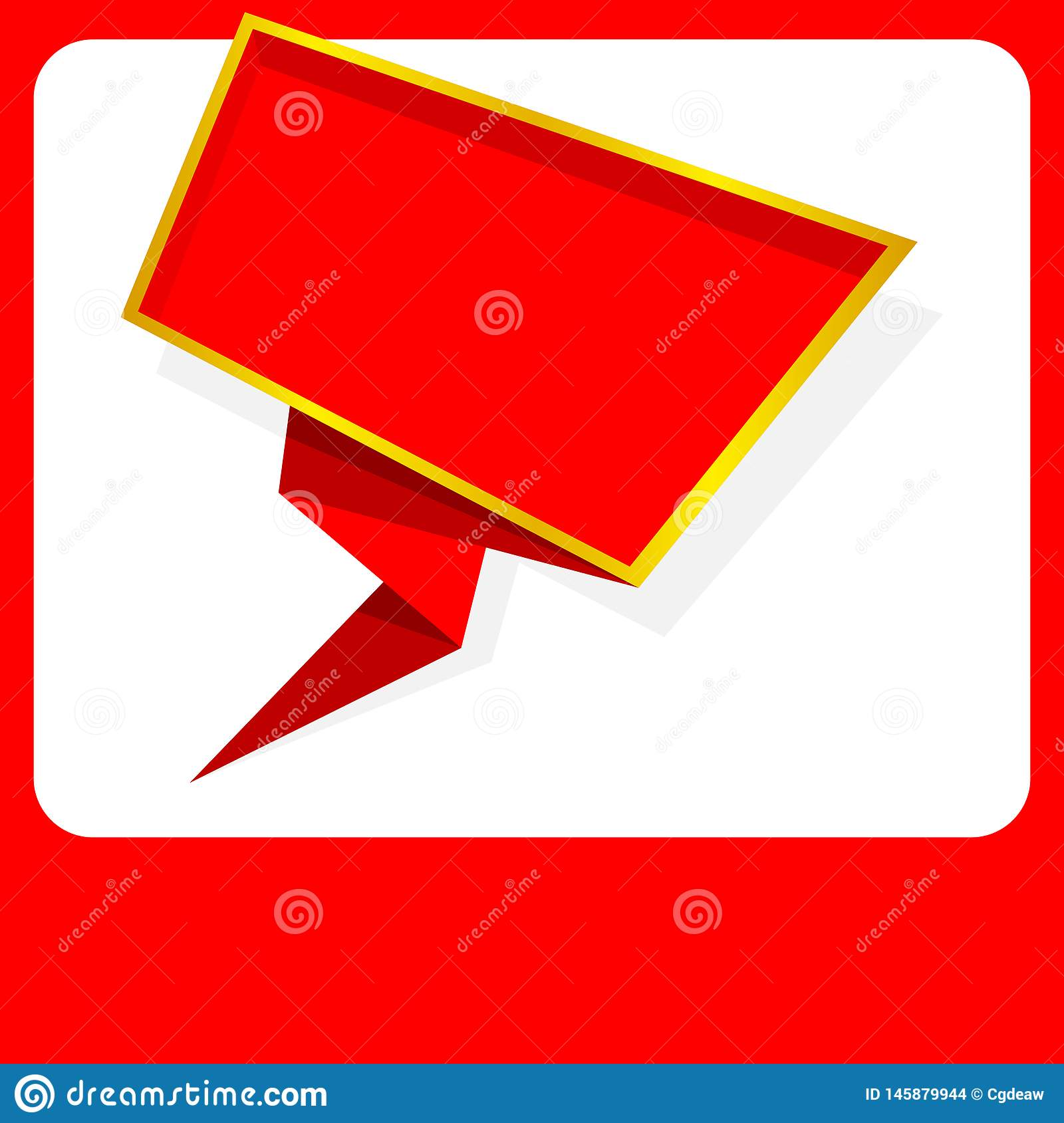 Banner red blank, red color frame banner template flat lay fashion style, red frame square empty copy space for advertising banner