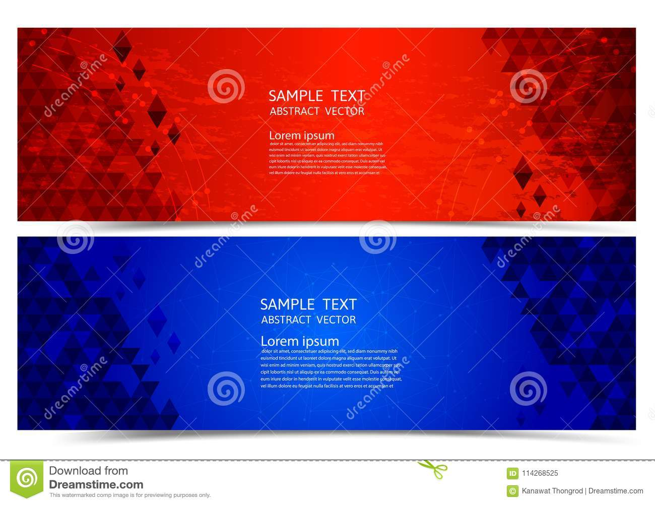 Banner Red And Blue Color Geometric Abstract Background
