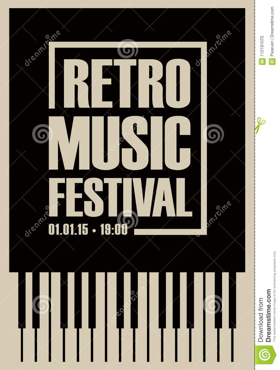 Download Banner For Retro Music Festival With Piano Keys Stock Vector