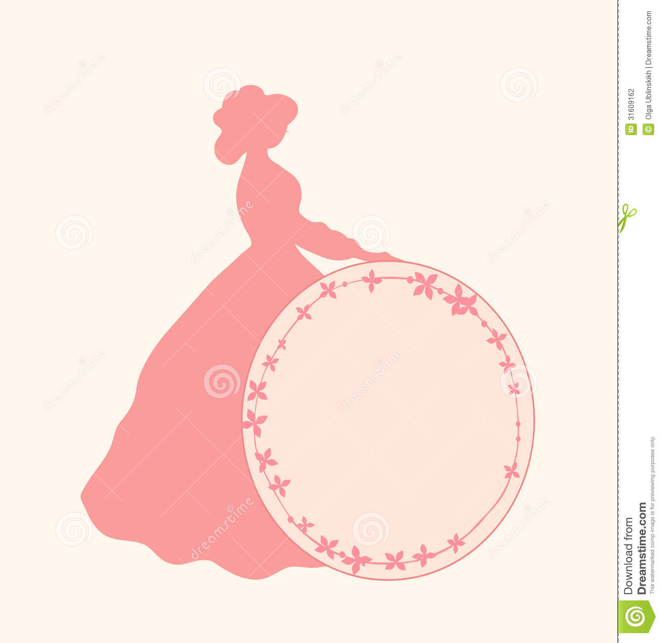 Banner With Romantic Woman And Round Floral Frame Retro Template ...