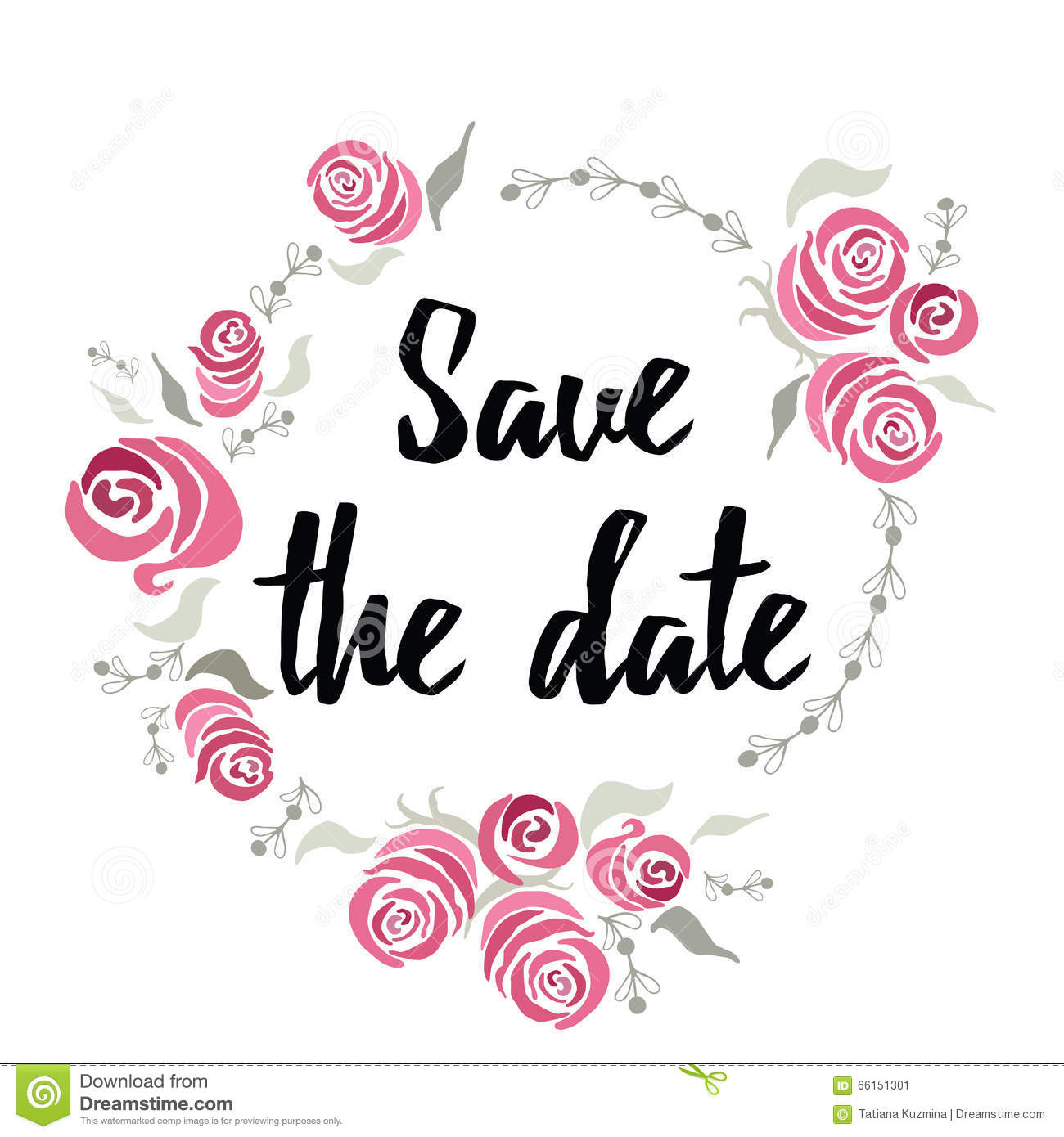 banner save the date made on ink hand lettering with abstract flowers roses frame around