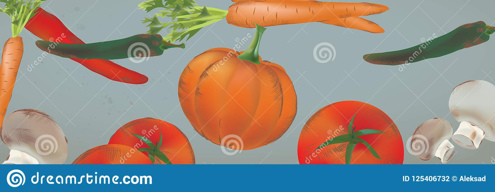 Banner with Seamless Background With Vegetables and Fruits