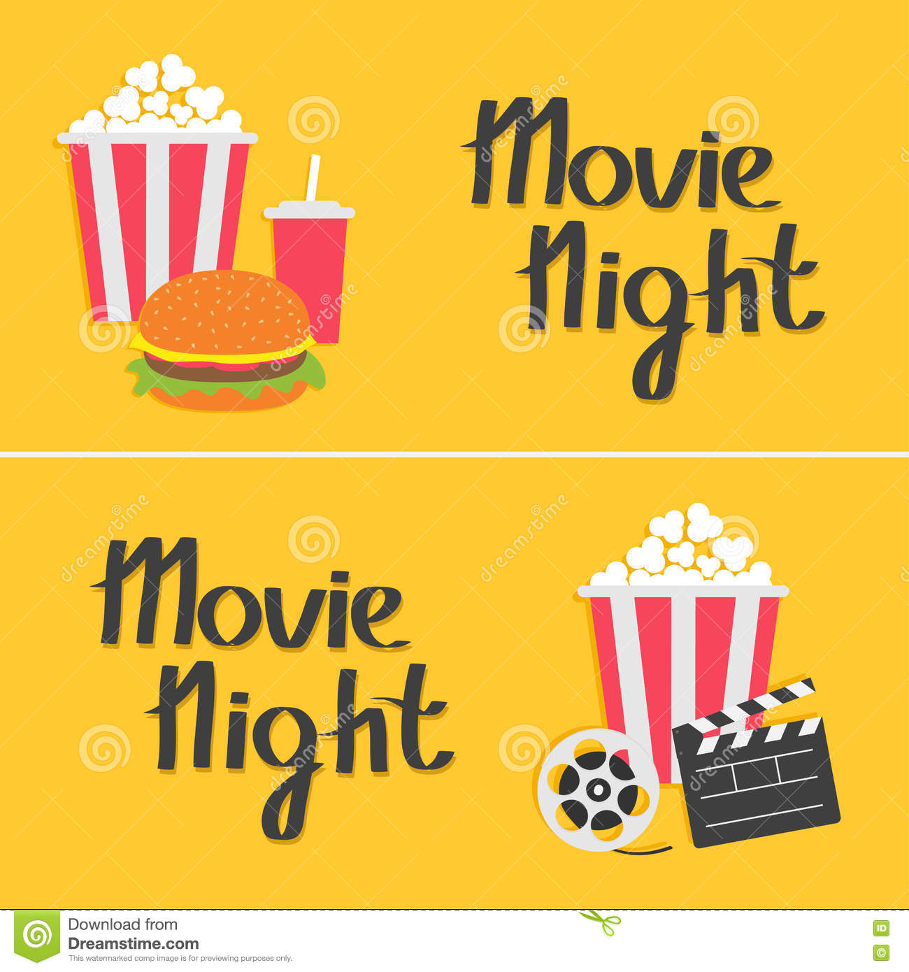 Download Banner Set Movie Reel Open Clapper Board Popcorn Cinema Icon Collection Night