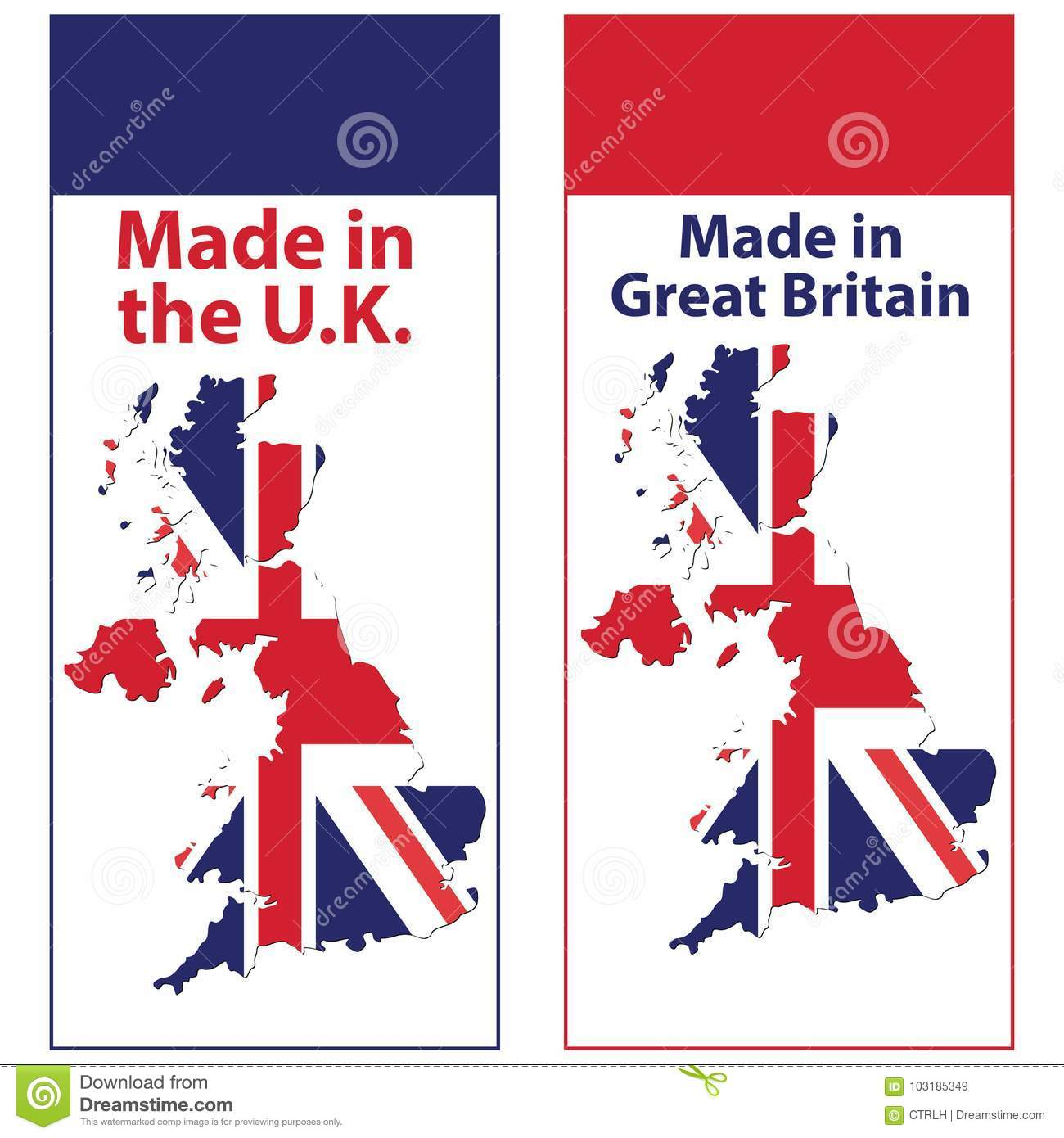 Map Of Uk For Printing.Banner Set For Print Made In Uk Stock Vector Illustration Of
