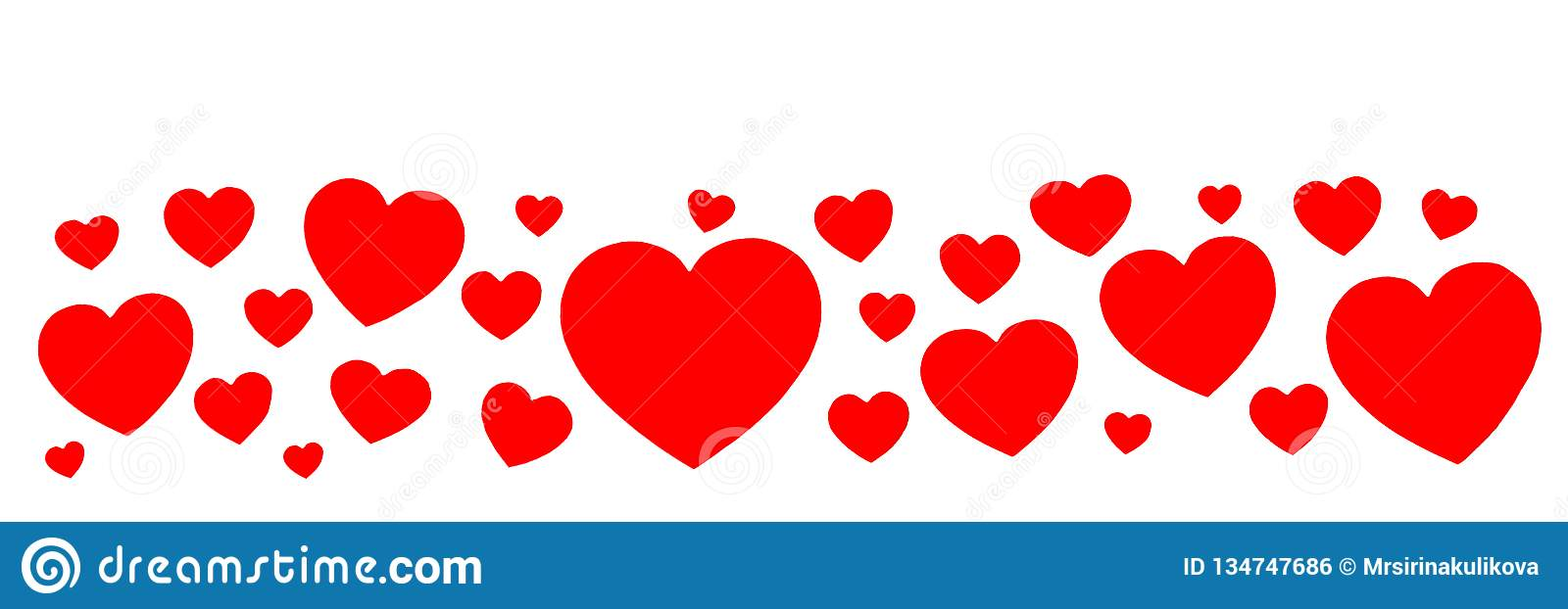 Banner from a set of red paper hearts isolated on white background