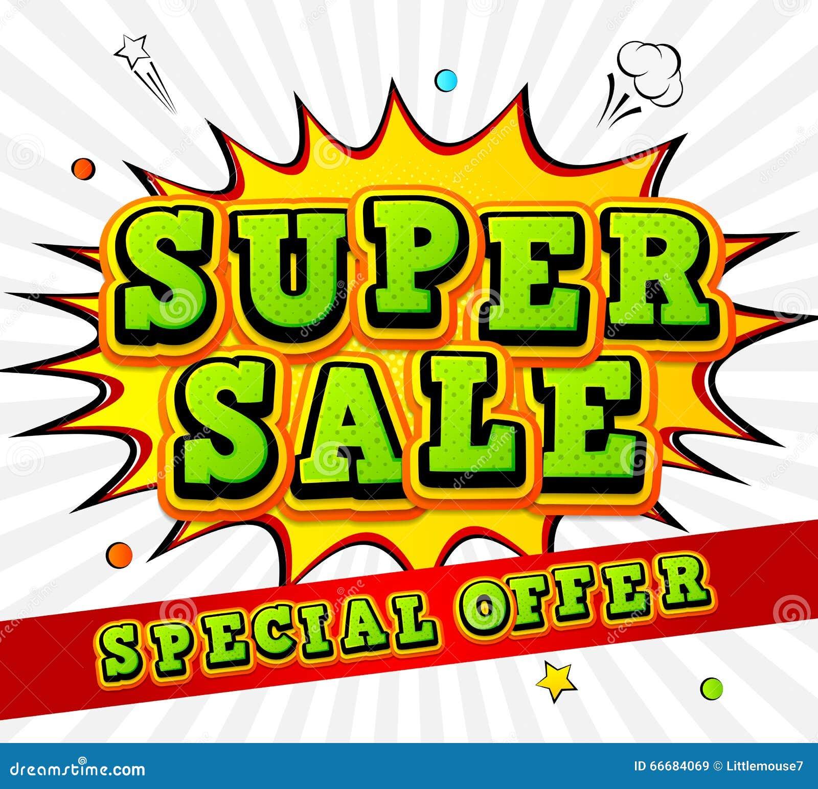 Free Comic Book Day Banner: Super Sale Banner Vector Illustration