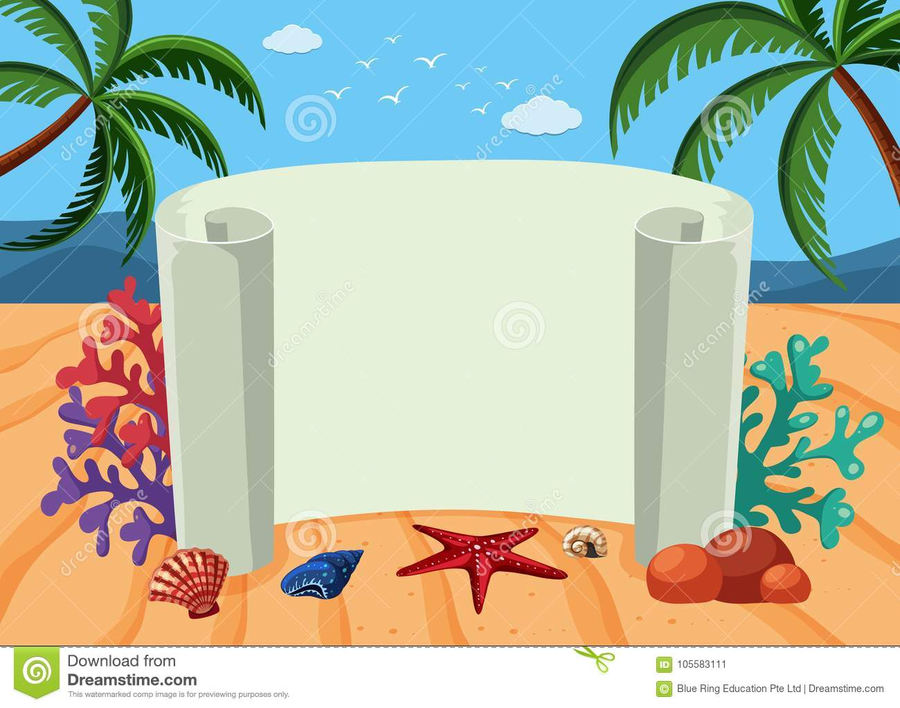 banner template with beach background stock vector illustration of