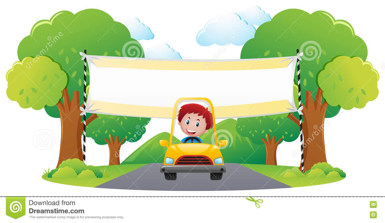 Banner Template With Boy Driving Yellow Car In Park Stock Vector