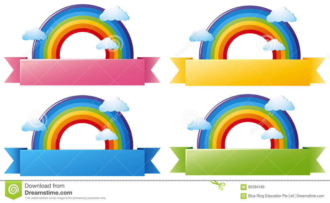 Banner template with colorful rainbow
