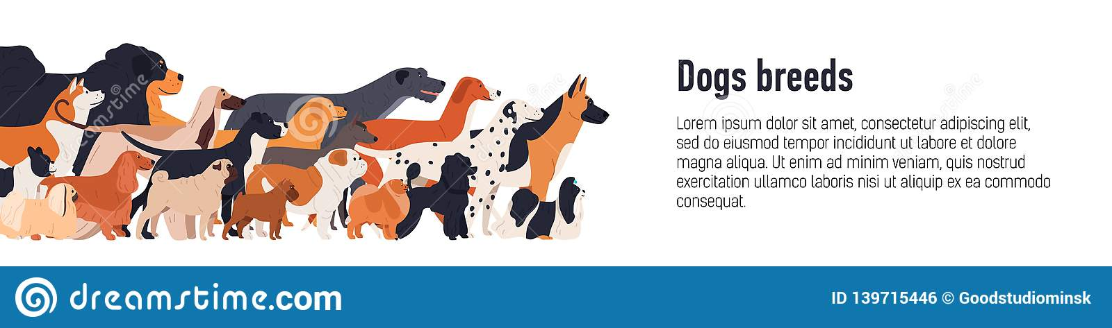 Banner template for conformation dog show with group of cute funny doggies of various breeds and place for text