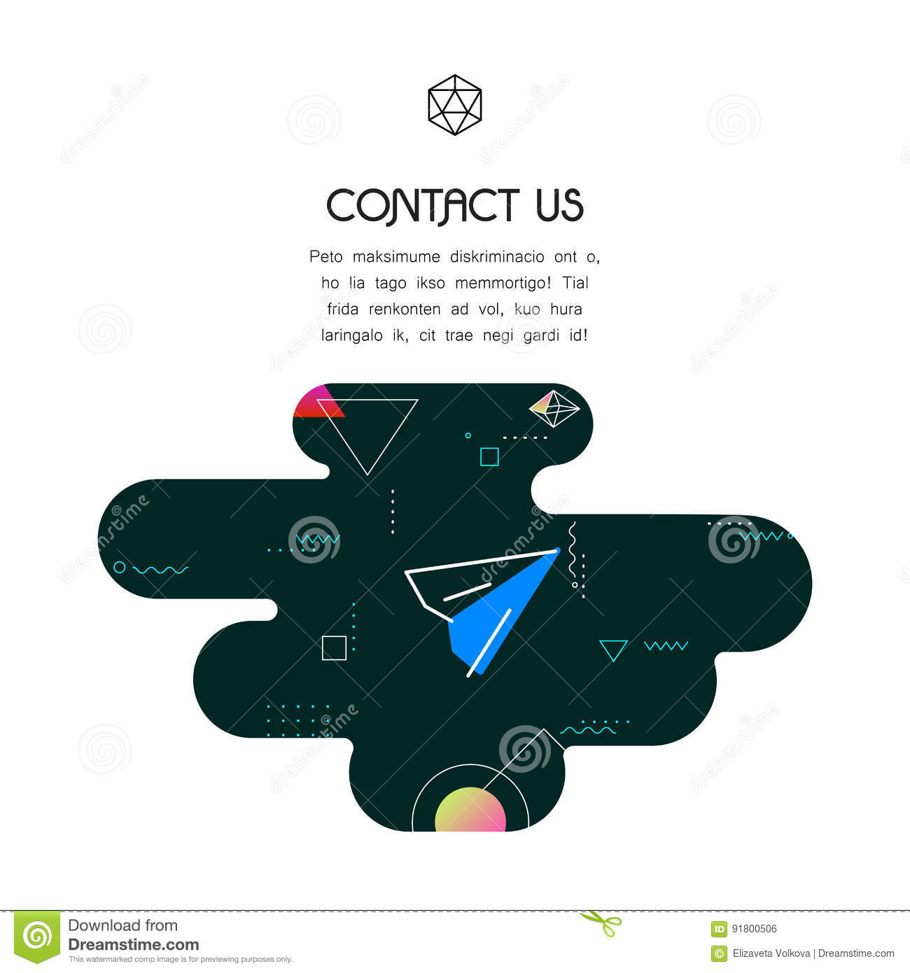 Banner Template With Contact Us Icon And Text Stock Vector