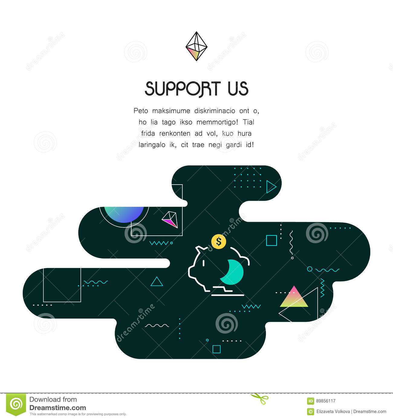 banner template with donation and support us icon and text stock